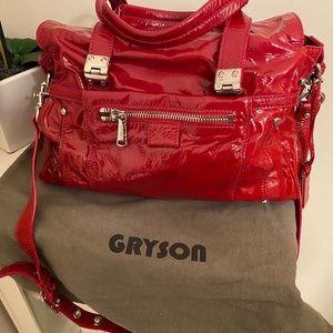 Joy Gryson Red Liquid Patent Tutu Satchel